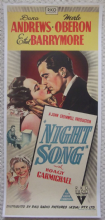 Night Song, Original Aust Daybill, Linenbacked, Merle Oberon, Dana Andrews, '48